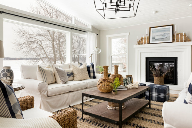 Hamptons Style Renovation Farmhouse Living Room Minneapolis