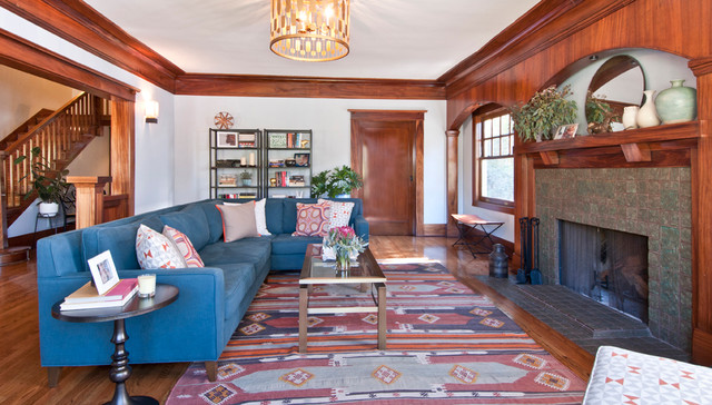 Craftsman Living Room by Taylor Jacobson Interior Design