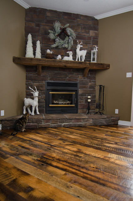 hand hewn barn beam mantels - Traditional - Living Room ...
