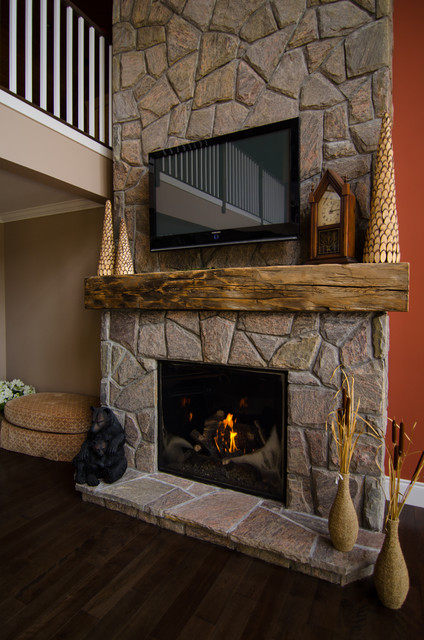 Hand Hewn Barn Beam Mantels Traditional Living Room