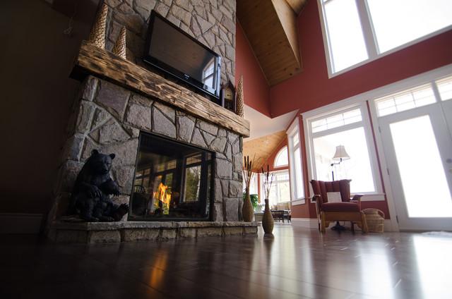 hand hewn barn beam mantels - Traditional - Living Room ...