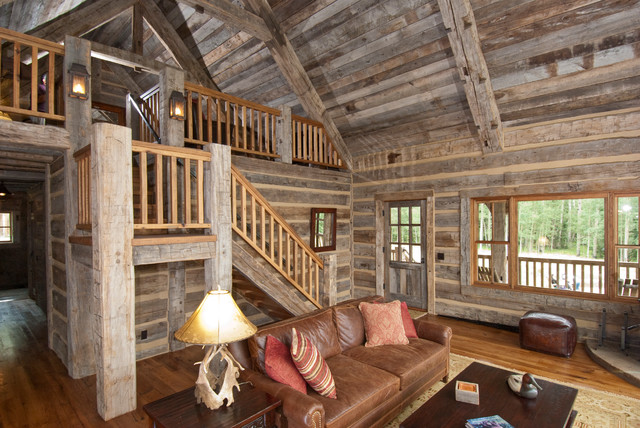Hand Hewn Skin Wall Paneling And Barnwood Ceiling Rustic