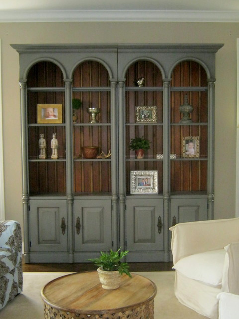 Hand Painted Bookshelves transitional-living-room