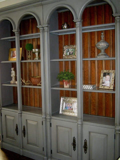 Hand Painted Bookshelves Transitional Living Room