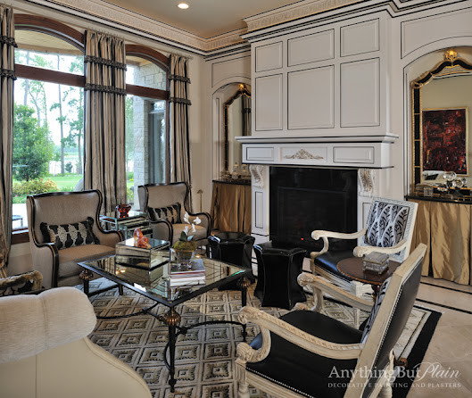 Hand Painted Detailing on Crown and Block Paneling traditional-living-room