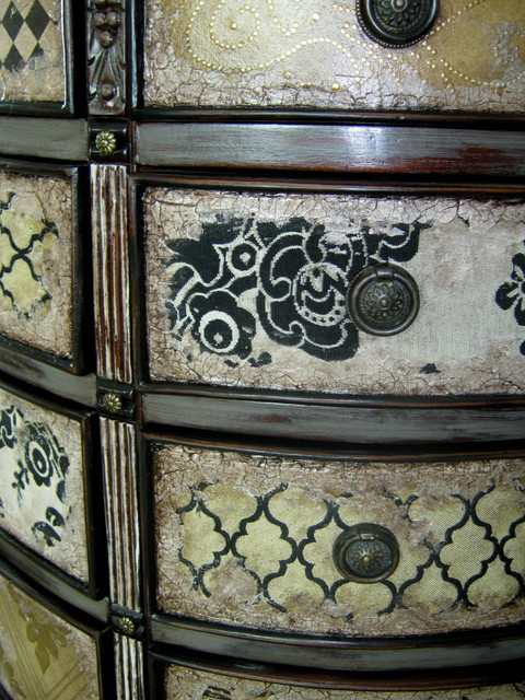 Hand Painted Mixed Media 12 Drawer Chest FOR SALE eclectic-living-room