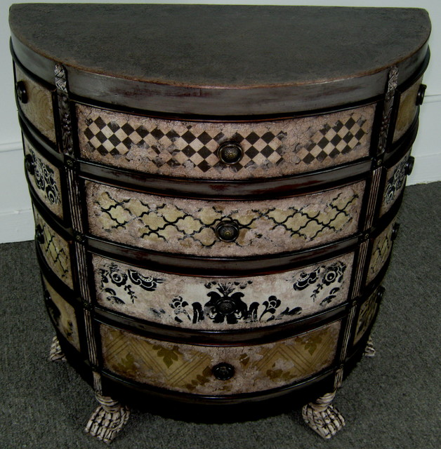 Hand Painted Mixed Media 12 Drawer Chest For Sale Eclectic Living Room Chicago By