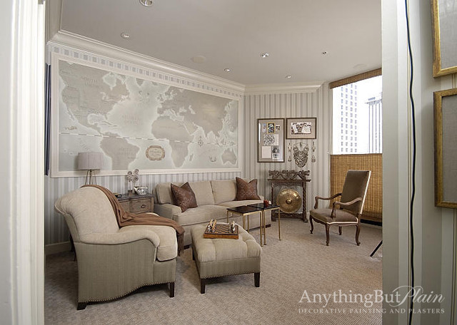 Hand Painted World Map Traditional Living Room