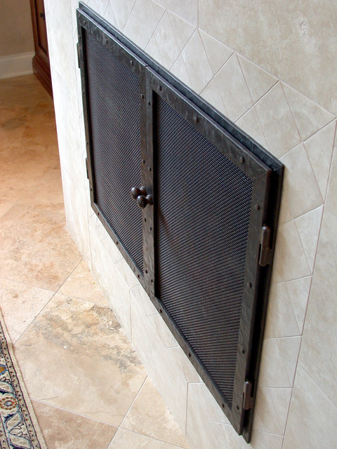 Hand Pounded Iron Fireplace Doors living-room