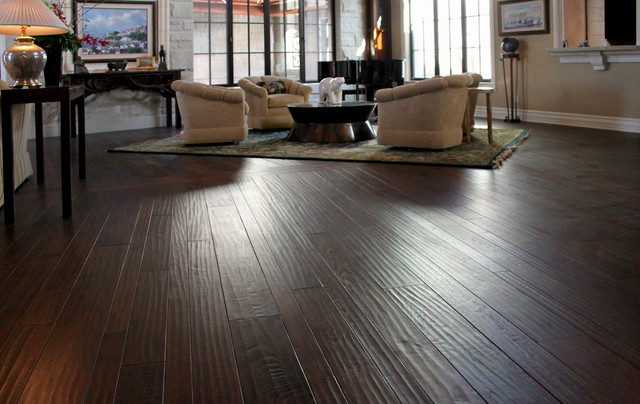 Hand Scraped Hickory Mediterranean Living Room Other