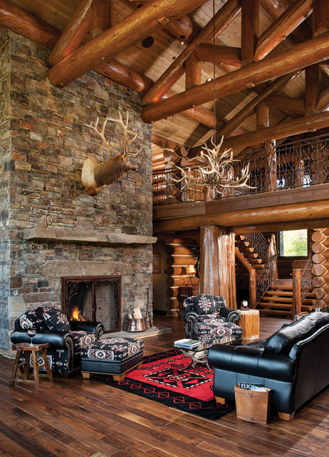 Handcrafted log home the jackson hole residence great for Log living room