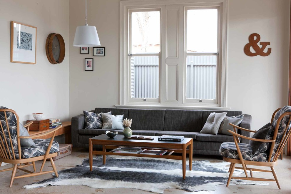 Living room - mid-sized 1950s formal and open concept living room idea in Adelaide with beige walls