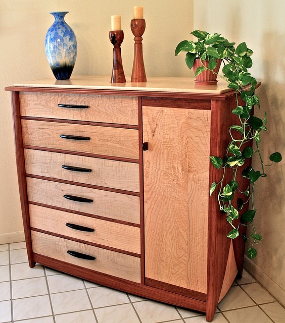 Handmade dresser in curly maple bubinga contemporary - Contemporary maple bedroom furniture ...