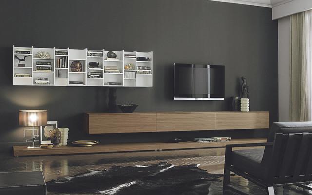 Hanging Bookcase TV Unit, Sangiacomo Italy Modern Living Room