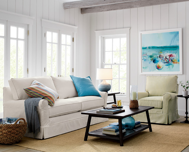 Harborside slipcovered apartment sofa beach style for Beach cottage style living room furniture
