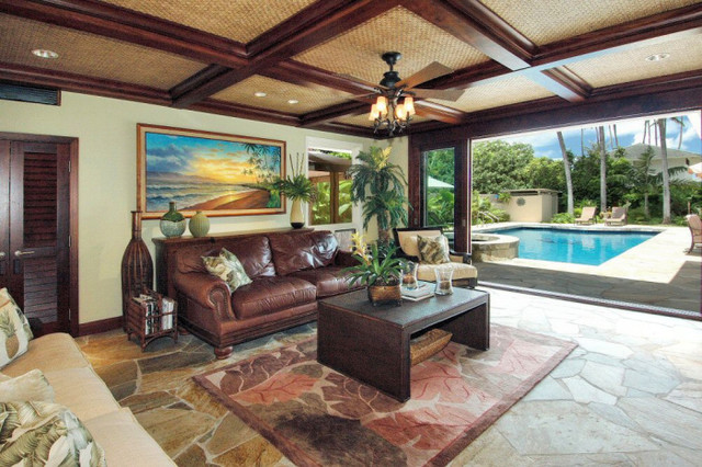 tropical interior living room decorating also hardwood ceiling style | Hardwood beams and woven bamboo ceiling design - Tropical ...