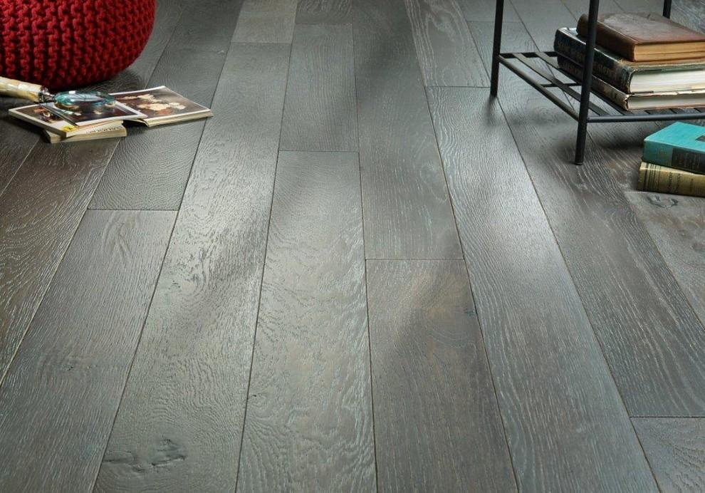 Elegant dark wood floor living room photo in Indianapolis