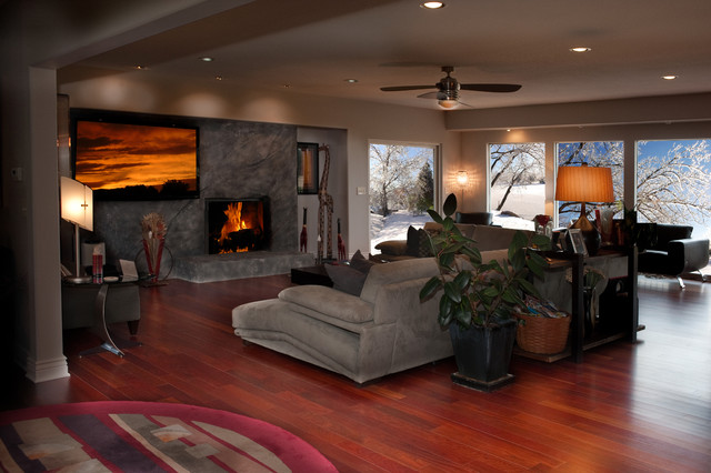 Hardwood floors modern living room wichita by Carpet or wooden floor in living room