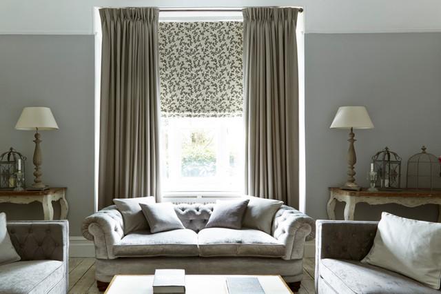 Harlow Charcoal Curtains And Aurella Ash Roman Blind Living Room