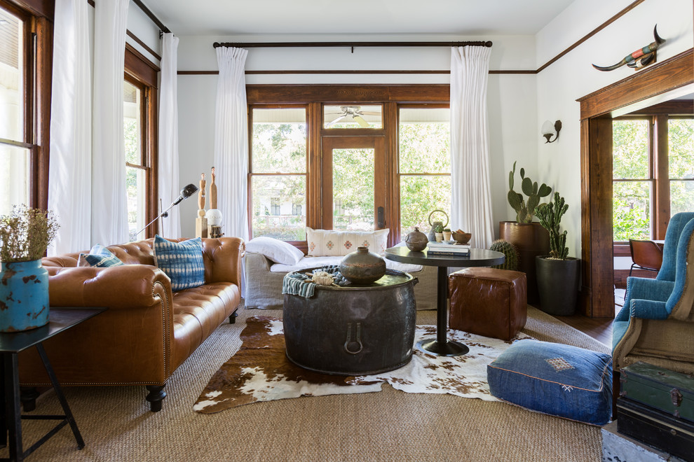 Living room - mid-sized eclectic formal and enclosed carpeted and beige floor living room idea in Houston with white walls