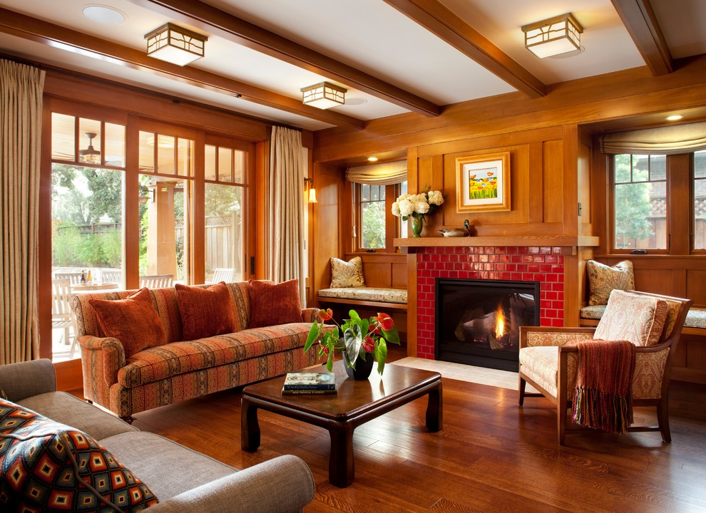 Living room - craftsman formal and enclosed medium tone wood floor living room idea in San Francisco with a standard fireplace, a tile fireplace and no tv