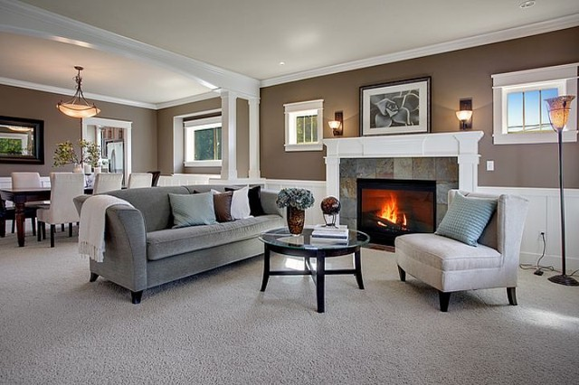 Gray Living Room With Chair Rail