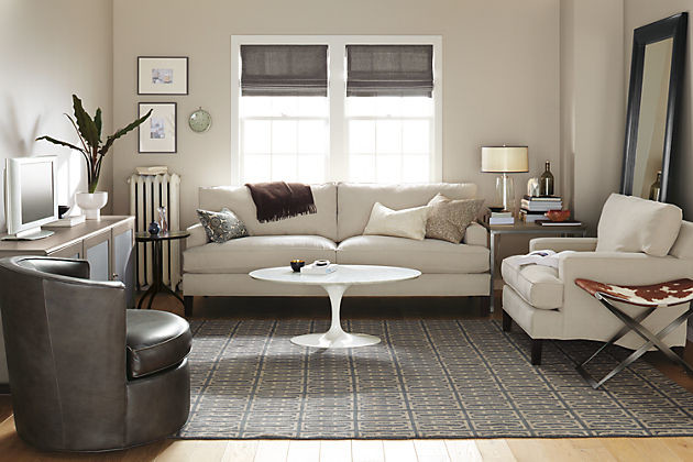Hawthorne Sofa Room with Karr Stool in Cowhide by R&B modern-living-room