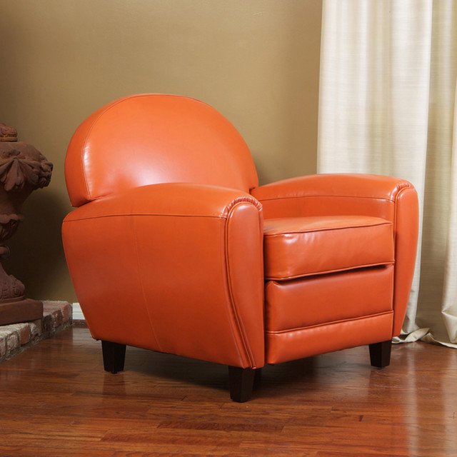 Hayley Burnt Orange Leather Club Chair Contemporary Living Room