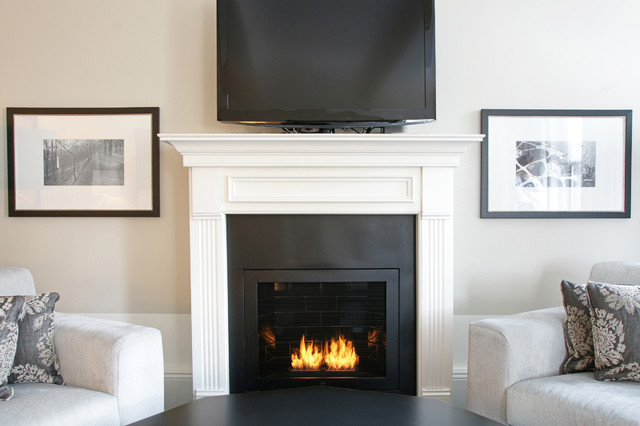 Hearth cabinet ventless fireplace custom traditional black traditional indoor fireplaces - Black and white fireplace ...