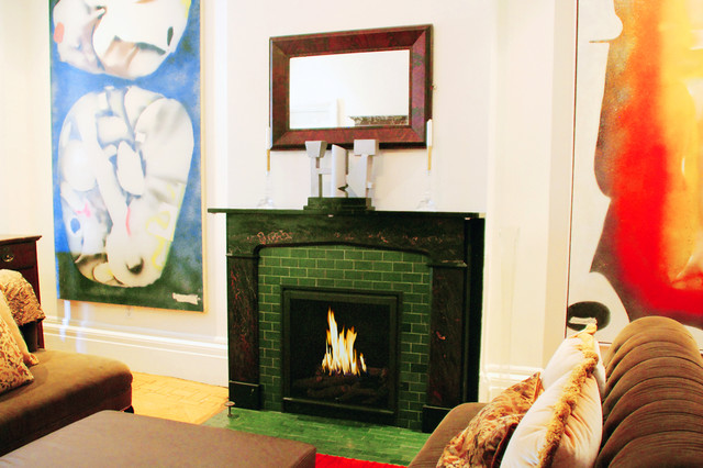 Hearth Cabinet Ventless Fireplace - Custom Traditional Black traditional-indoor-fireplaces
