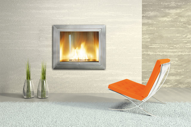 Hearth Cabinet Ventless Fireplace - Square Modern Stainless Steel ...