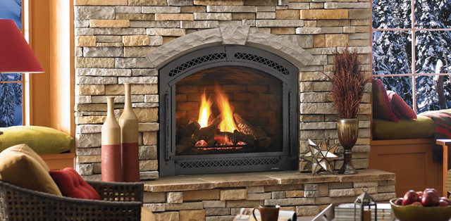 This is a true arched direct vent gas fireplace by Heat-N-Glo call the Cerona.