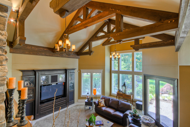 Heavy Timber Trusses In Great Room Traditional Living