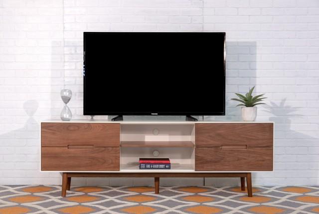 Hendrick Tv Stand Large White Walnut