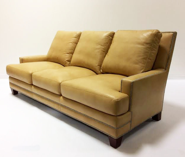 Henredon Leather Sofa Traditional Living Room