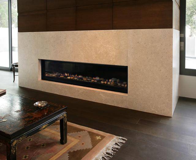 Hera Brushed Limestone Fireplace - Contemporary - Living Room ...
