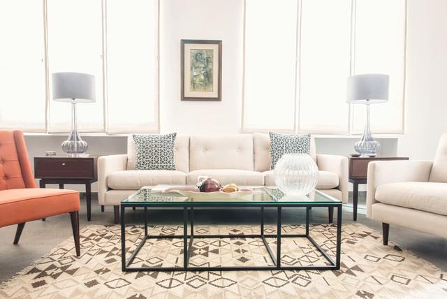 hermes orange midcentury living room london by