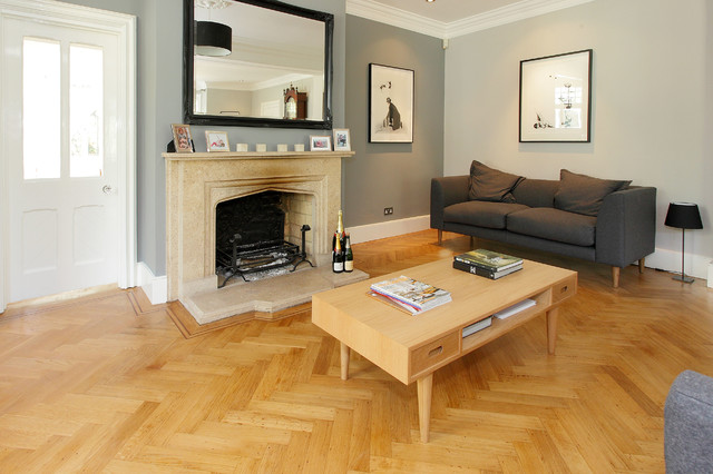 Herringbone Oak Wood Flooring Traditional Living Room Surrey By Higherground Houzz Uk
