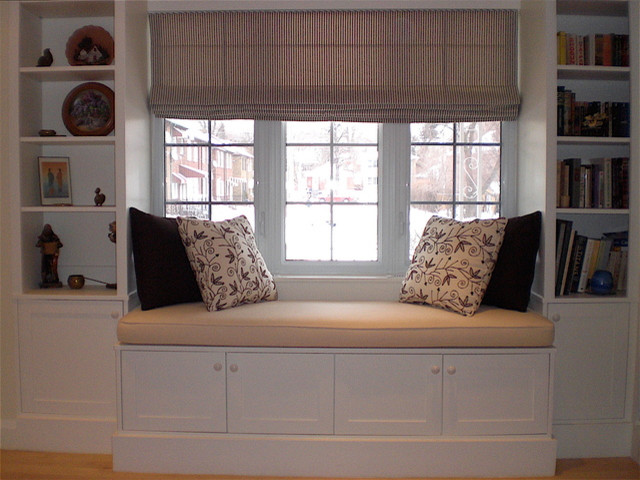 Hertle avenue custom window seat and bookcase for Living room seats designs