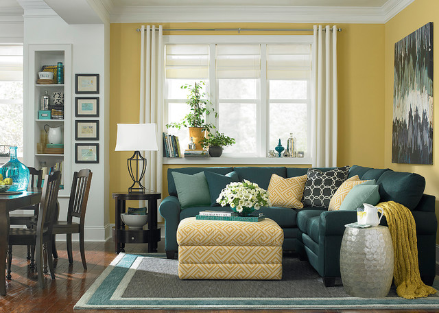 Hgtv Home Custom Upholstery L Shaped Sectional Sofa By Bassett Furniture Modern Living Room