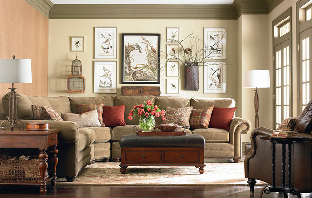 HGTV Home Custom Upholstery Large Curved Corner Sectional By Bassett Furniture Traditional Living Room