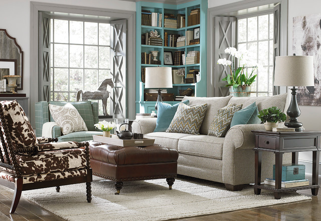 HGTV Home Custom Upholstery Large Sofa By Bassett Furniture Traditional  Living Room