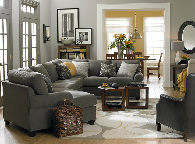 HGTV Home Custom Upholstery Left Cuddler Sectional By Bassett Furniture  Contemporary Living Room
