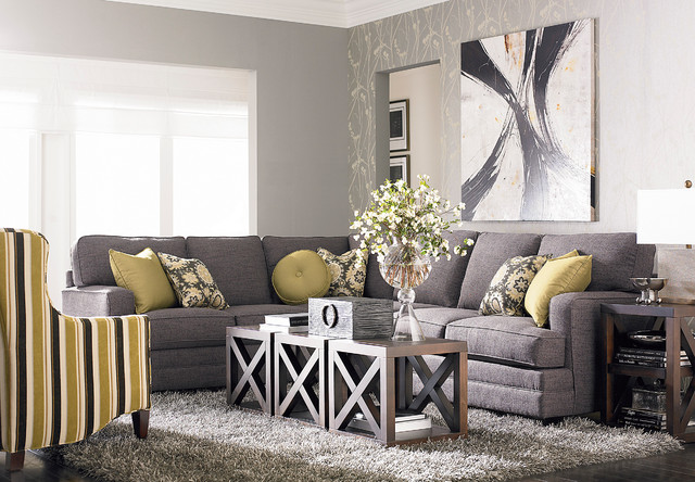 hgtv home custom upholstery xl l shaped sectional by bassett furniture modern living room