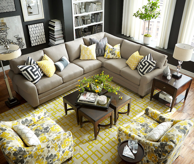 Hgtv home design studio cu 2 l shaped sectional by bassett for Living room ideas l shaped sofa