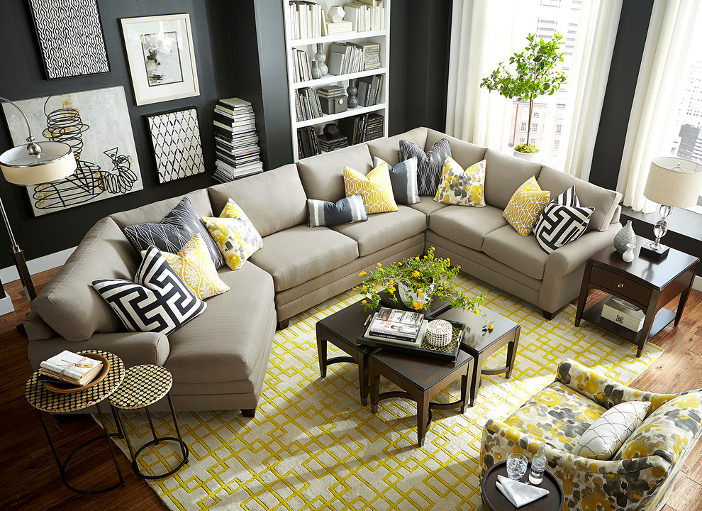 Hgtv Home Design Studio Cu 2 Left Cuddler Sectional By Bassett Furniture Contemporary Living Room Other By Bassett Furniture