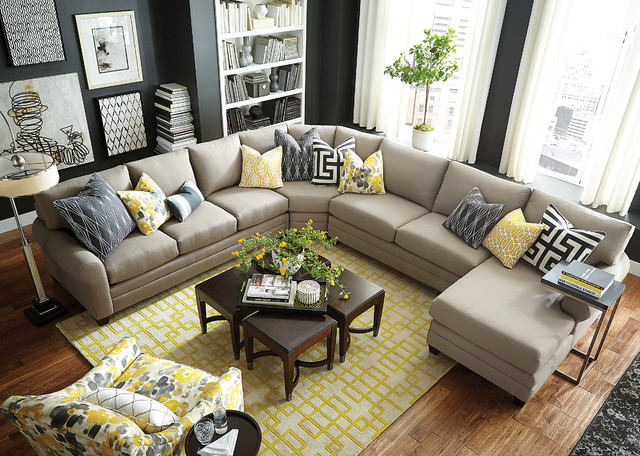 Hgtv home design studio cu 2 u shaped sectional by bassett for U shaped living room layout