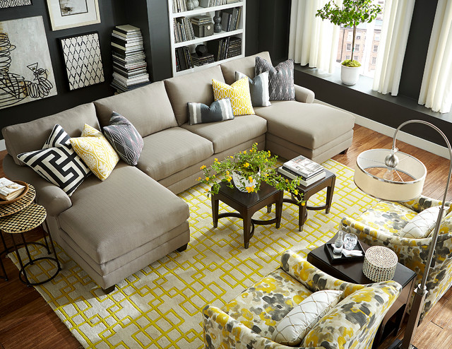 Hgtv Home Design Studio Double Chaise Sectional By Bassett Furniture Contemporary Living