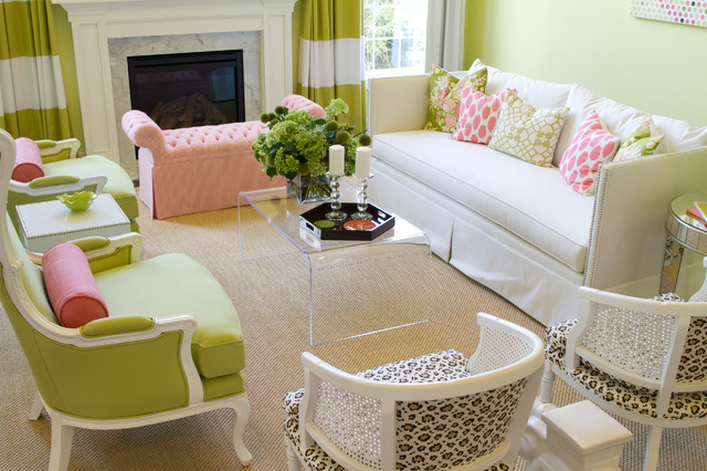 Pink And Green Living Room Hgtv Showhouse  Contemporary  Living Room  Other Alisha .