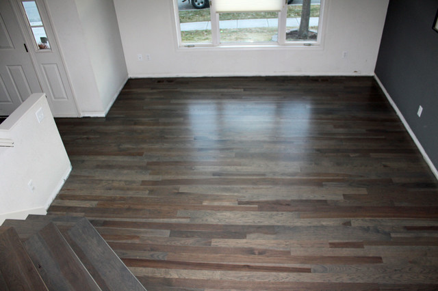 Hickory Flooring With A Custom Stain Modern Living Room